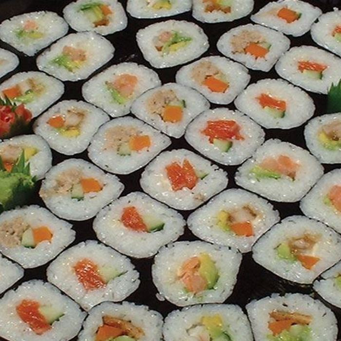 Nori style rolls with various fillings cut into bits (10)